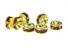 rhinestone copper spacer bead, yellow gold plated, smoky rhinestone, 6-12mm
