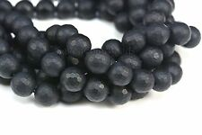 matte black onyx faceted beads - matte faceted round beads - black gemstone bead