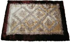 DaDa Bedding 3D Diamond Aztec Print Exotic Geneva Viscose Brown Carpet Rug Mat