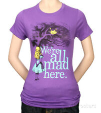 Juniors: Alice in Wonderland - We're all Mad Here Juniors (Slim) T-Shirt Purple
