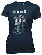 Juniors: Doctor Who - Series 7 Linear Tardis Juniors (Slim) T-Shirt Blue New