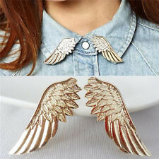 2 pcs New Fashion Punk Wings Style Collar Brooches Pins for Women Jewelry Gift J