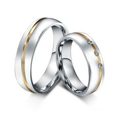 CZ Couple Rings Titanium Steel Lover's Jewelry Her and His Wedding Promise Band