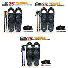 """New MTN  All Terrain Snowshoes + Nordic Pole + Free Carrying Bag 25"""" BLACK"""