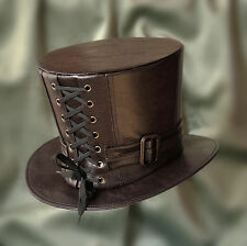 STEAMPUNK BROWN LEATHER LOOK TOP HAT  WITH LACED BODICE AND BELT AND BUCKLE