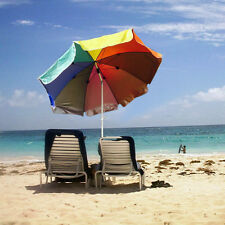 1.9M/1.8M Outdoor Rainbow Beach Umbrella Adjustable Folding Picnic Camping Shade