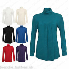 Ladies Women's Polo Gathered Turtle Neck Plain Long Sleeve Party Top Plus 14-28
