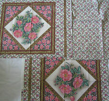 FABRIC CRAFT PANEL*100% cotton*CUSHION FRONT *ROSE PUMILA*
