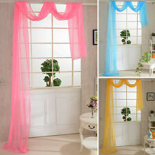 Door Window Drape Solid Tulle Divider Panel Voile Valances Scarf Sheer Curtain
