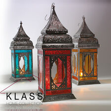 NEW INDIAN / MOROCCAN LARGE IRON & GLASS LANTERN TEA LIGHT HOLDER HOME & GARDEN