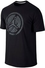 Nike Air Jordan Lined Pinwheel Jumpman Tee Shirt Mens XL 647434 010  Black Grey
