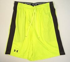 Under Armour High Vis Yellow Micro Printed Loose Fit Athletic Shorts Mens NWT