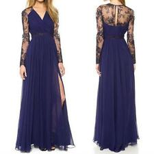 Sexy Womens Lace Long Chiffon Evening Party Dress Bridesmaid Prom Gown V Neck US