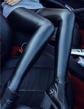 Women's Sexy Faux Leather Pencil Tight Thin Pants Lined Stretch Slim Leggings