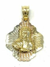 14K Solid Tri Color Gold Charm Pendant (Available in Jesus Christ & Mother Mary)