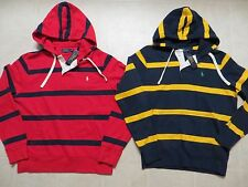 POLO RALPH LAUREN MENS STRIPED RUGBY FLEECE HOODIE JACKET SWEATSHIRT PONY M LNWT