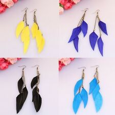 1 Pair Chic Feather Metal Chain Dangle Chandelier Earrings Jewelry BOHO 6 Colors