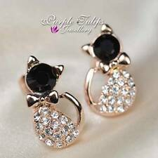 18CT Rose Gold GP Shinning Cute Bowknot Cat Stud Earrings W/ Swarovski Crystal
