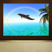 Dolphin and Rainbow poster print picture wall art