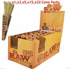 RAW King Size Natural Unrefined Pre Rolled Cones Tobacco Rolling Papers