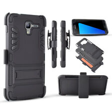 Kyocera Hydro View C6742 Hybrid Phone Case Stand Rugged Armor belt Clip Holster