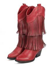 New Women Liliana Lewis-1 Leatherette Knee High Pointy Toe Fringe Cowboy Boot Sz