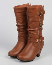 New Girl Link Bibi-75K Leatherette Round Toe Kitten Heel Belted Slouch Boot