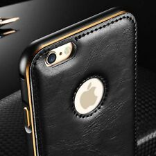 """Luxury Leather Aluminum Metal Bumper Frame Case Cover for iPhone 6 /6S Plus 5.5"""""""