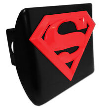 """Superman Black Metal Hitch Cover Red Logo [NEW] Trailer Cap Receiver 2"""" Marvel"""