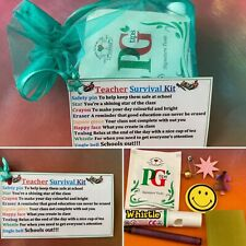 Teacher SURVIVAL KIT Thank You Novelty Gift Idea Present Any Colour Organza Bag