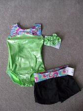 NWT Garland Lime Rainbow Foil Gymnastics Leotard + Black Shorts Set + Scrunchie