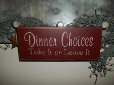 Wood Prim Sign DINNER RULES Wood KITCHEN Country Rustic Prim Home Decor Sign