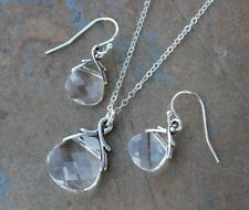 Clear Crystal briolette necklace & earring set, sterling silver -Swarovski