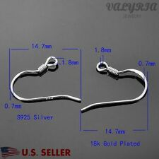 White Gold Plated 925 Sterling Silver Earring Hooks Wire Finding 14.7mm 21gauge