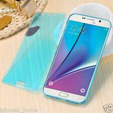 Transparent Blue Soft Jelly Book Case Flip Cover Skin For Samsung Galaxy S6