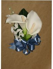 New Artificial Smoke Blue Calla Lily Corsage, Smoke Calla Lily Mother's Corsage