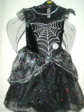 GIRLS AGE 7 TO 8 FANCY DRESS HALLOWEEN LIGHT UP BLACK SILVER FAIRY WITCH COSTUME
