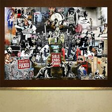 Banksy collage of works tribute poster print wall art