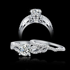 1.7Ct Round CZ 925 Sterling Silver Engagement Wedding Ring Band Set Women's 5-10