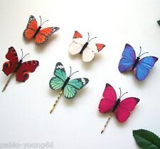 12Pc/lot Fabric Butterfly Hair Clip Pins Wedding Blue White Handmade Multi-color