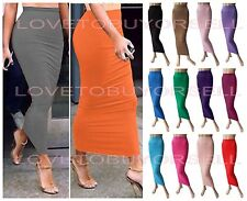 Tight Fitted Slimming Polyester Stretch solid Casual Long Skirt 14 colors Size M