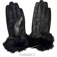 Women's Gloves, Leather Gloves, Real Fox fur, Warm Lined Winter Dress Gloves NWT