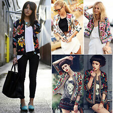 Womens Floral Printed Slim Short Jacket Coat Autumn Vintage Casual Cardigan Tops