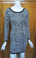 French Connection Animal Black & White  Print Sweater Dress Sz 6, 8 NWT