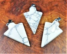Arrowhead Necklace - Howlite Carved Gemstone Pendant (X12) White Natural Jewelry
