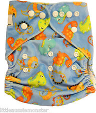 Brand New Reusable Modern Cloth Nappy (MCN) Microfiber Insert Minky Blue Dino