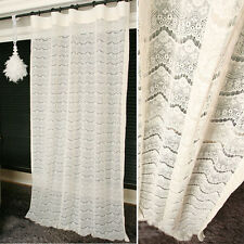 Handmade Elegant Ivory Lace Sheer Curtain Decorative Voile Net Panel Curtains