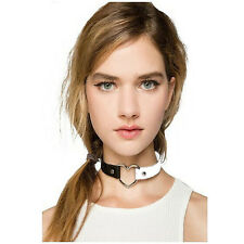 Hots Punk Goth Heart Cross Choker Necklace Ring Harajuku Leather Neck Ring