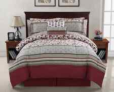 10 Piece Bedding Set Comforter Red Floral Bed in a Bag Sheets Queen or King