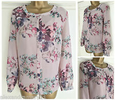 NEW EX M&S DUSKY PINK PURPLE GREEN FLORAL TWO LAYER VEST & TOP SIZE 10 - 18